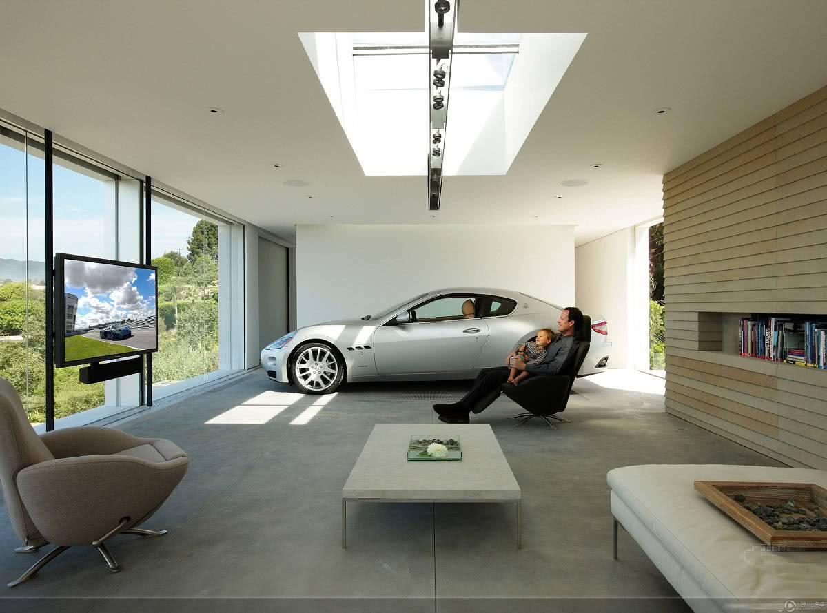 Garagem com piso de concreto