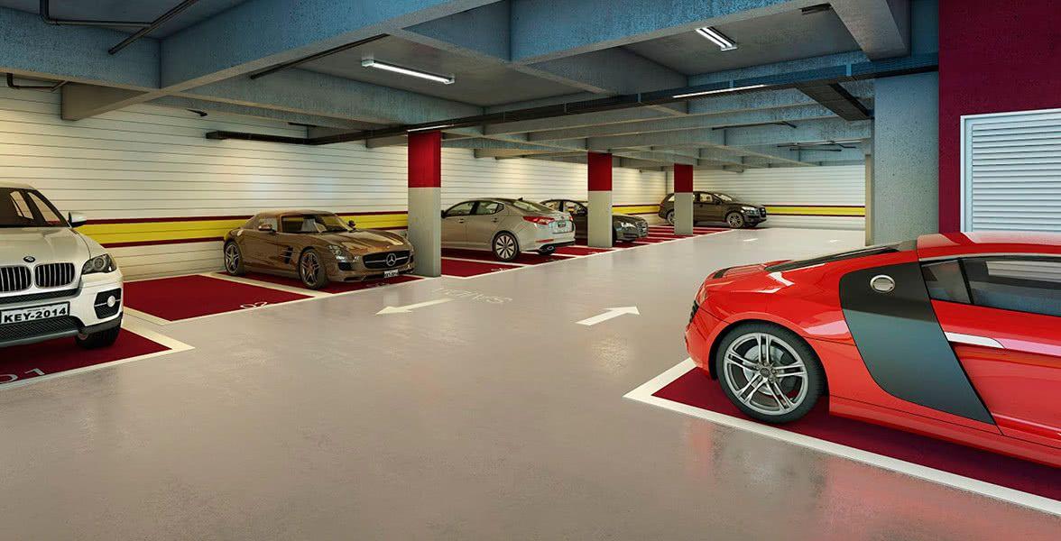 O piso monolítico (sem emendas) facilita a demarcação de vagas e a sinalização dos acessos