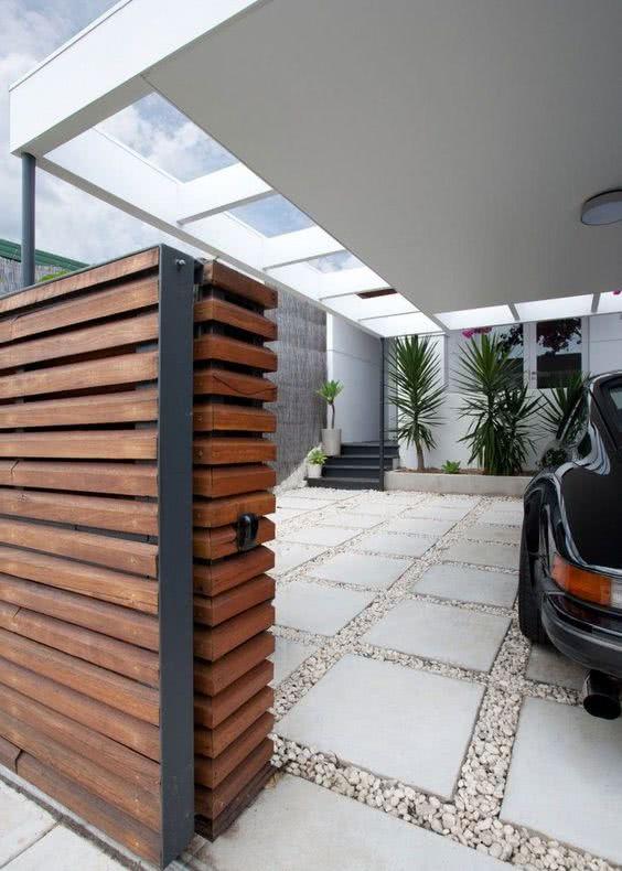 Entrada de garagem com grama coloque ento o tapete de for Modelos techos para garage