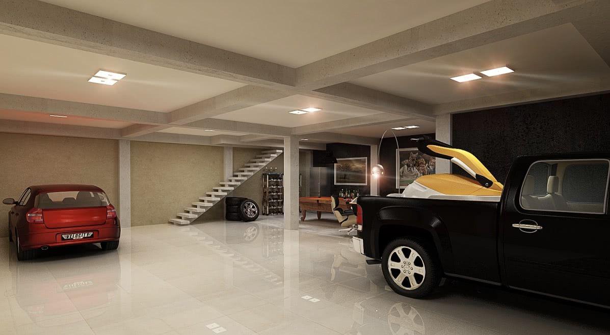 Garagem com piso de porcelanato polido