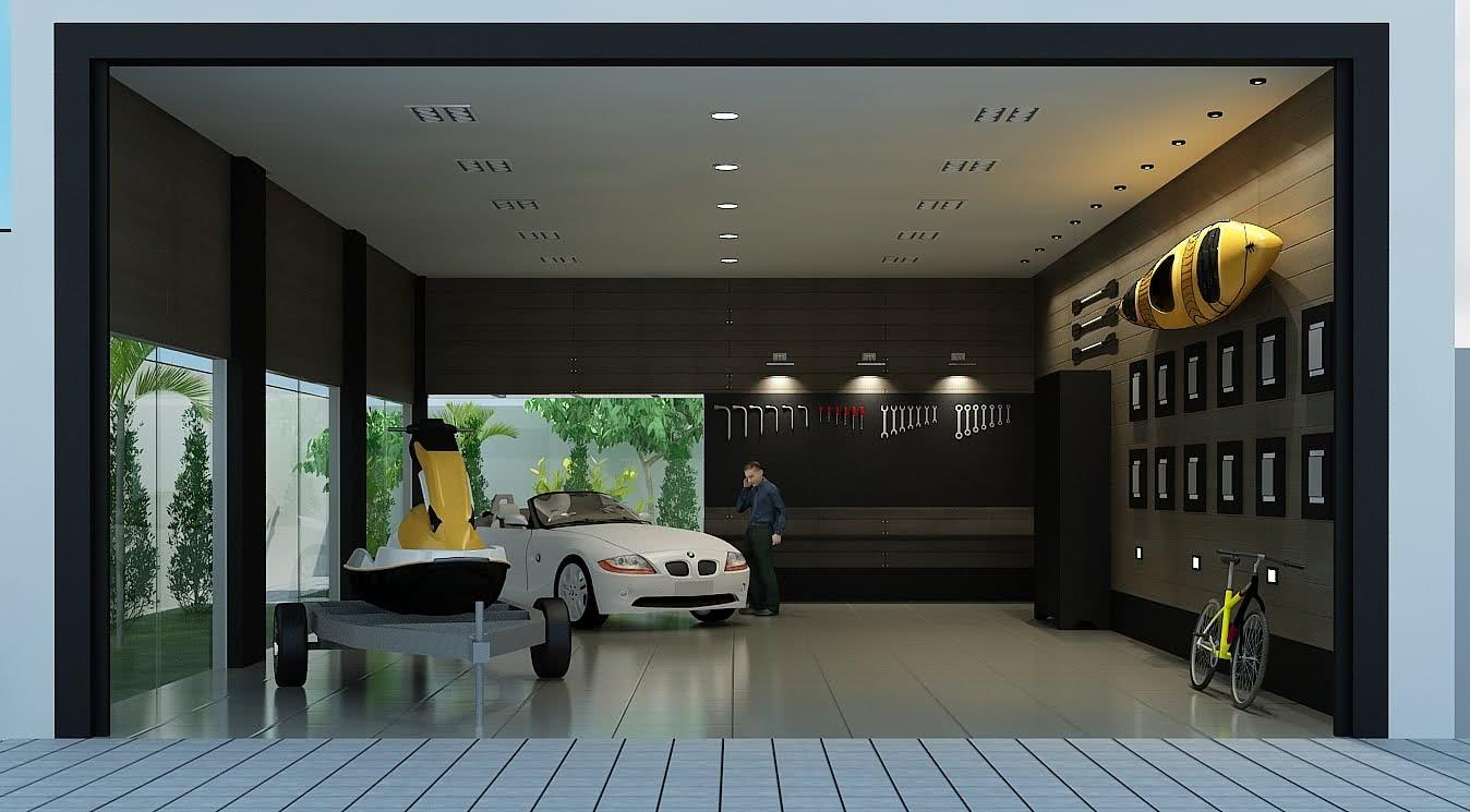 Garagem com piso de cerâmica branca