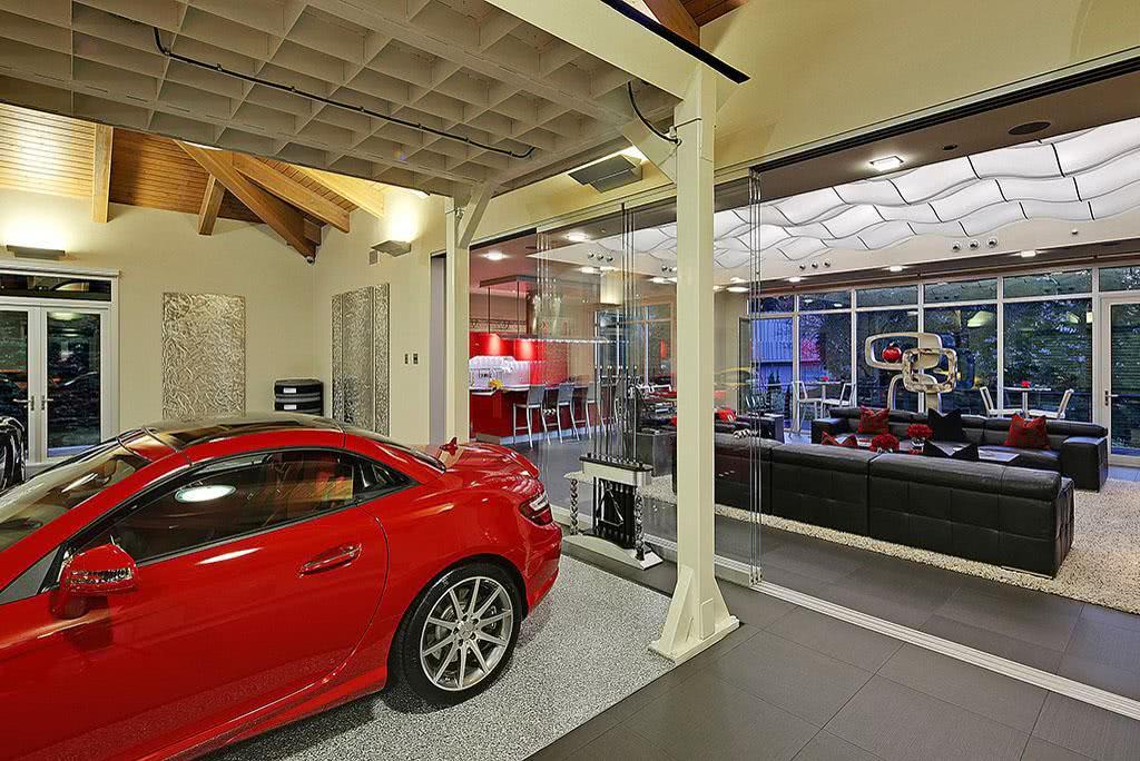 Observe que a delimitação da vaga de garagem é feita com a mudança de piso