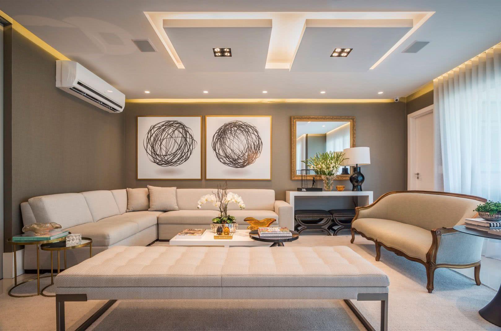 Iluminação difusa e indireta na sala de estar