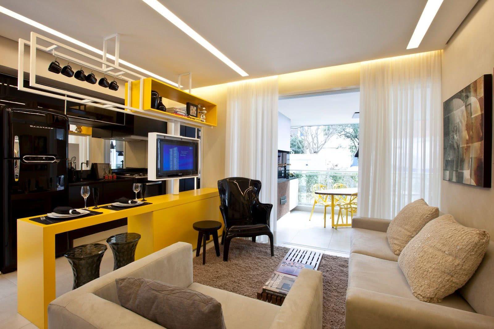 Projeto luminotécnico para salas e cozinhas integradas