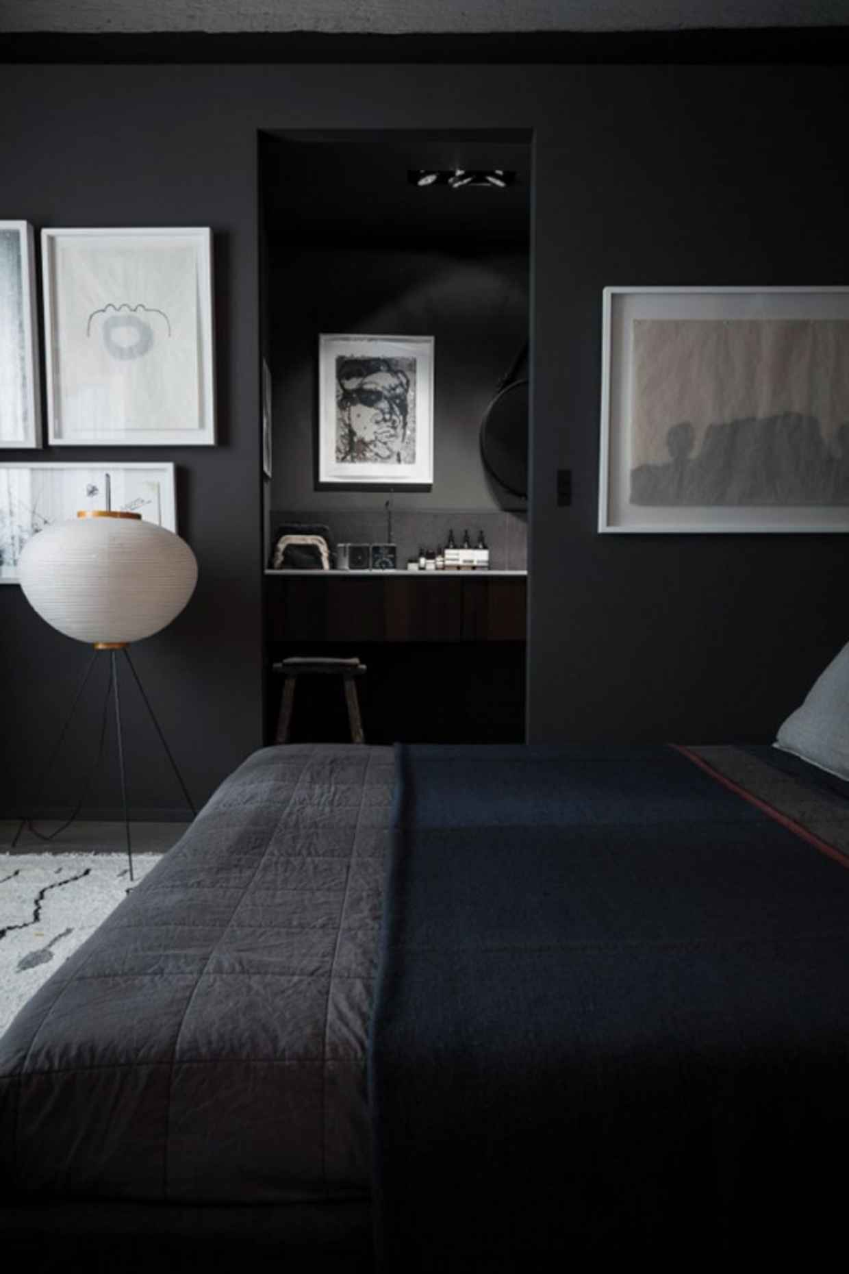 Quarto preto 60 fotos e dicas de decora o com a cor for How to paint a dark wall