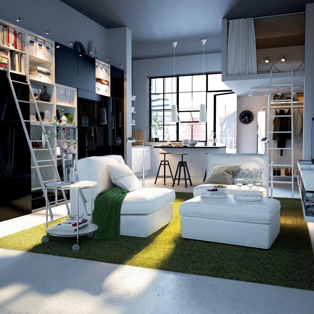 Studio transformado em loft na decoração de uma casa pequena
