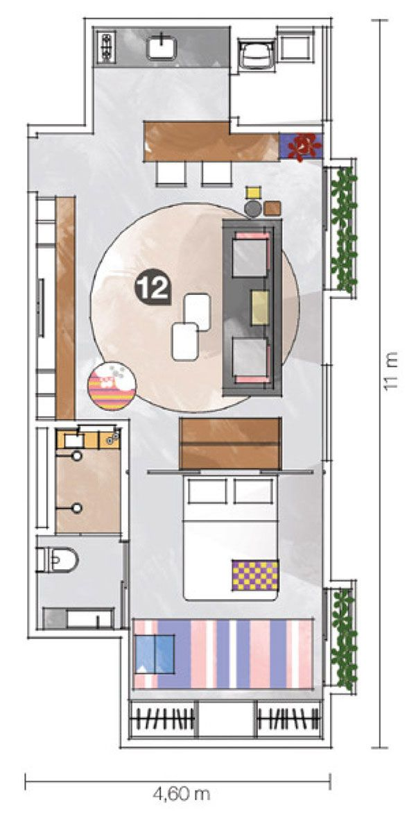 Planta baixa de apartamento pequeno com medidas