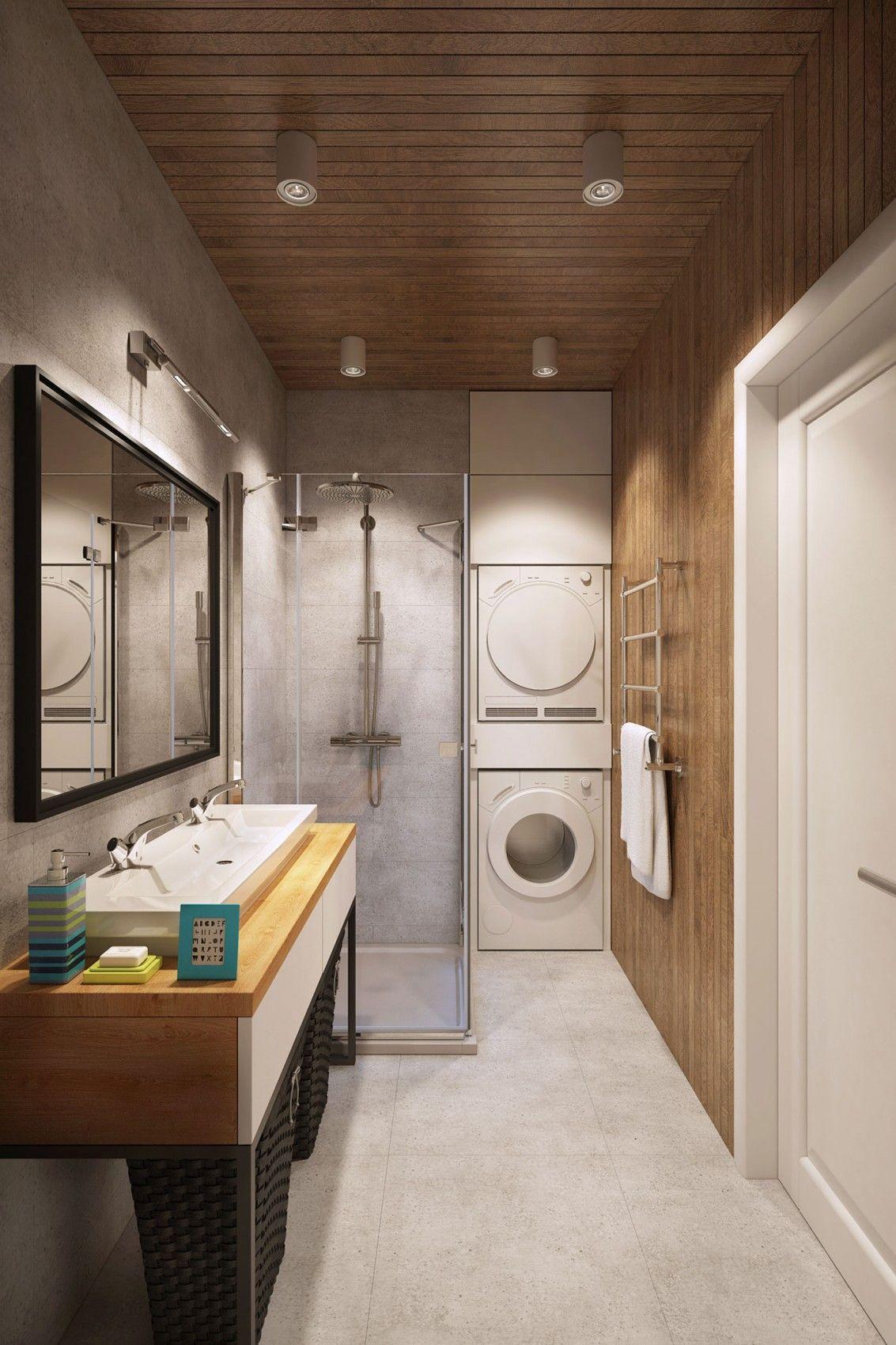 Banheiro com máquina de lavar roupa