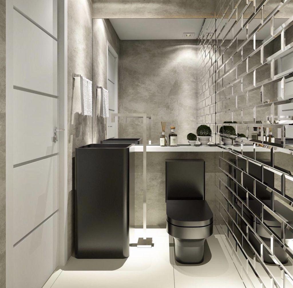 Tijolo espelhado no banheiro: tendência!