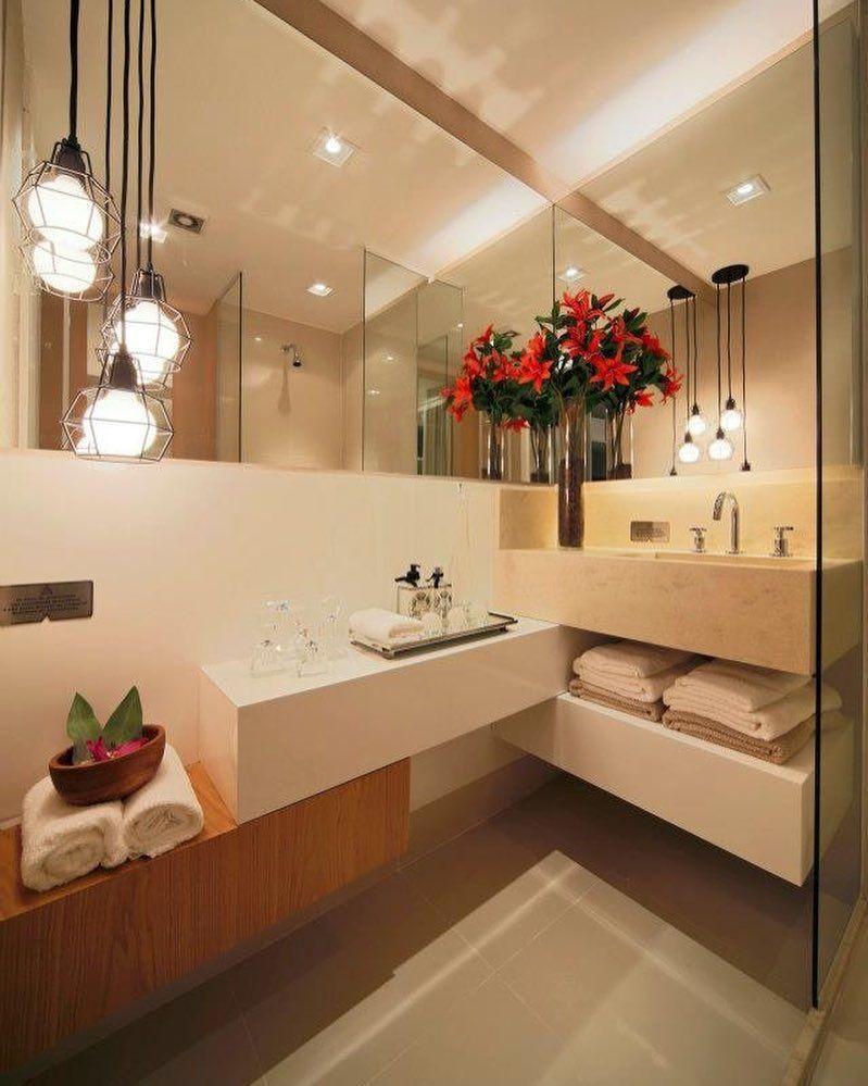 Bancada em níveis para banheiros decorados