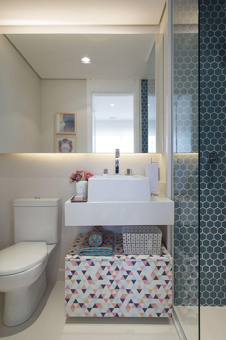 Estampas geométricas no banheiro