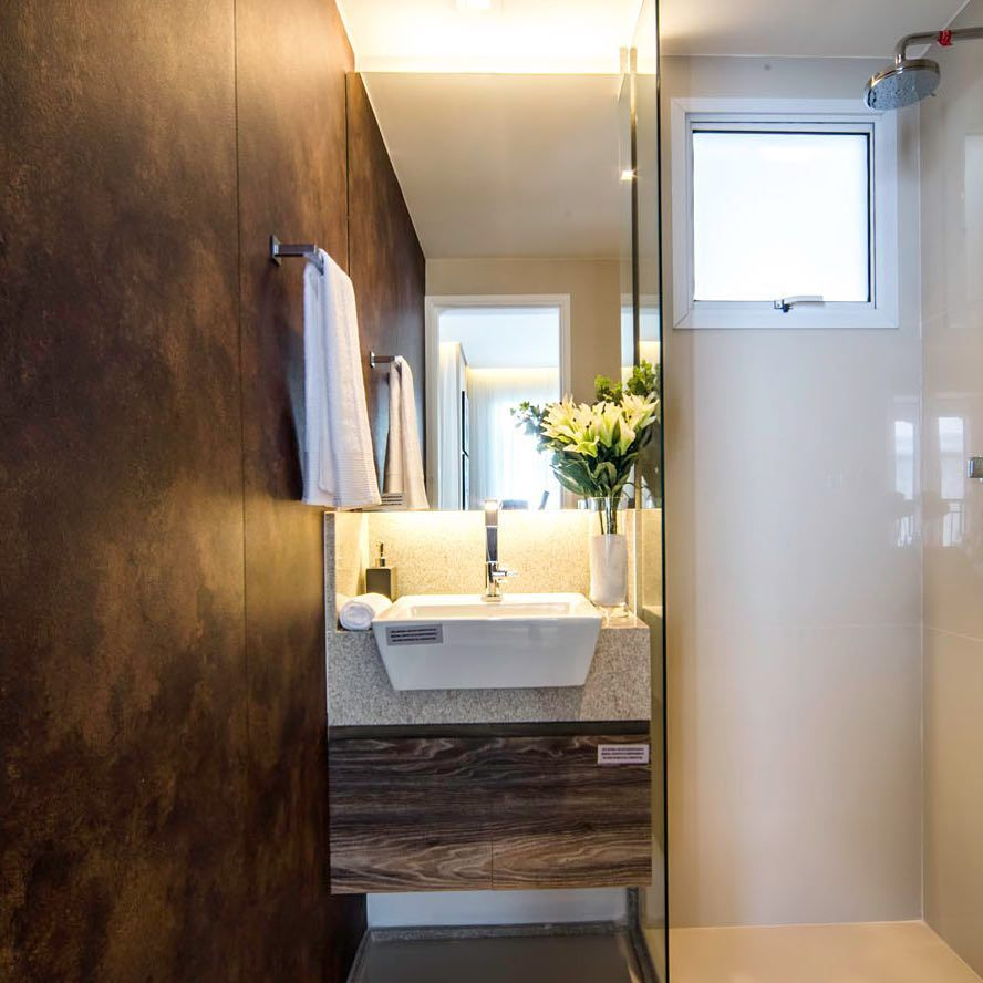 Aço corten no banheiro decorado