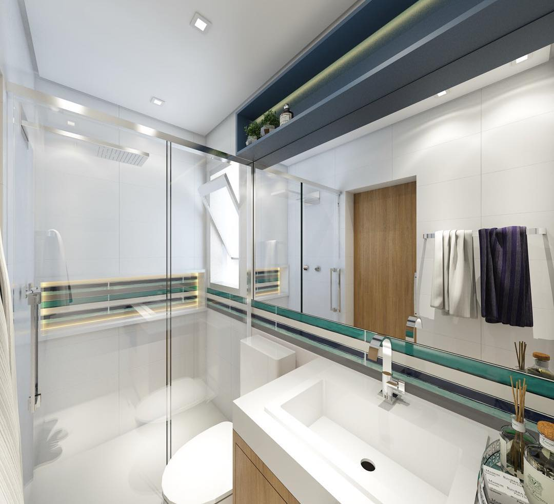 Tons de azul e verde no banheiro