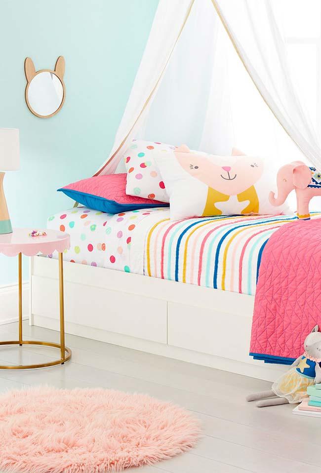 Muito charme na decoração do quarto de menina com candy colors