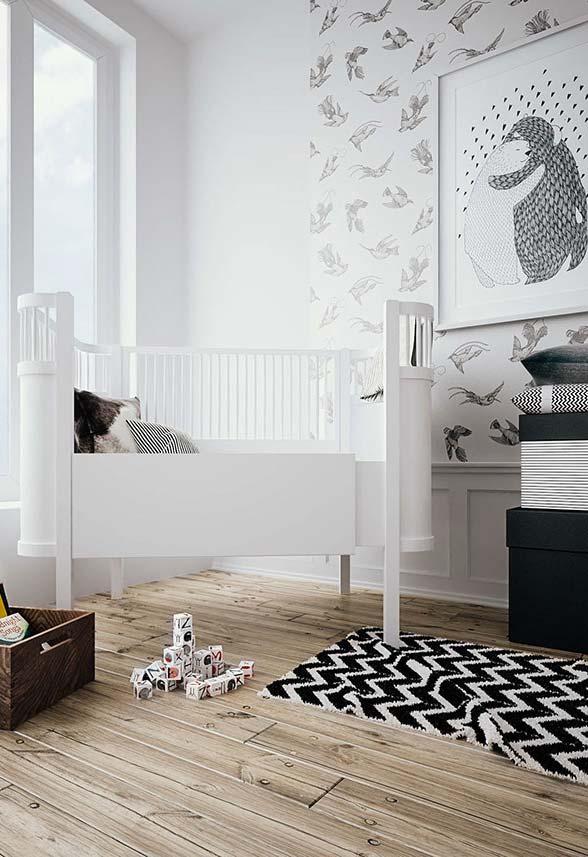 Quer um quarto de bebê com papel de parede moderno