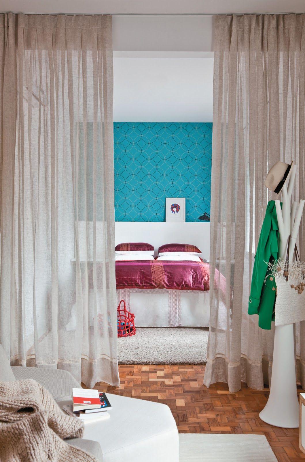 Dividindo os ambientes com cortina em voal