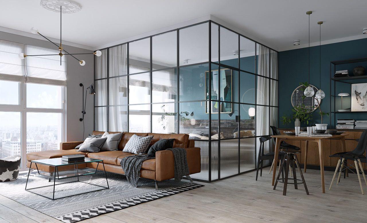 O painel de vidro é elegante e funcional na casa