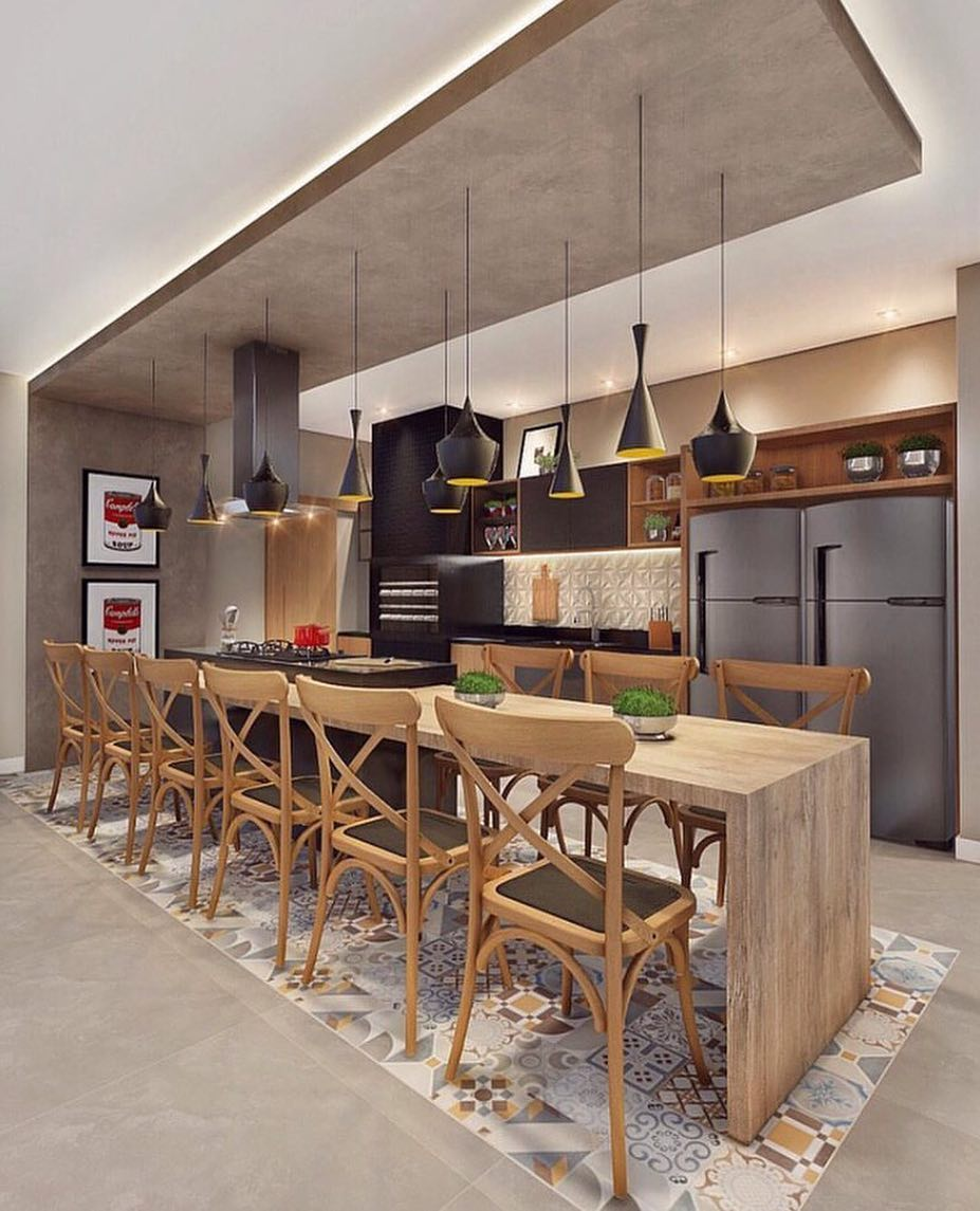 Paginação de piso na cozinha gourmet