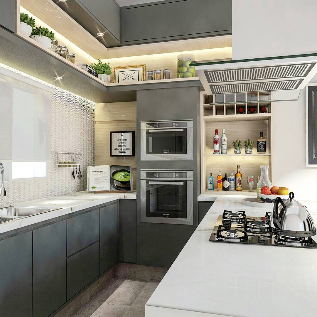 Cozinha gourmet com decoração cinza