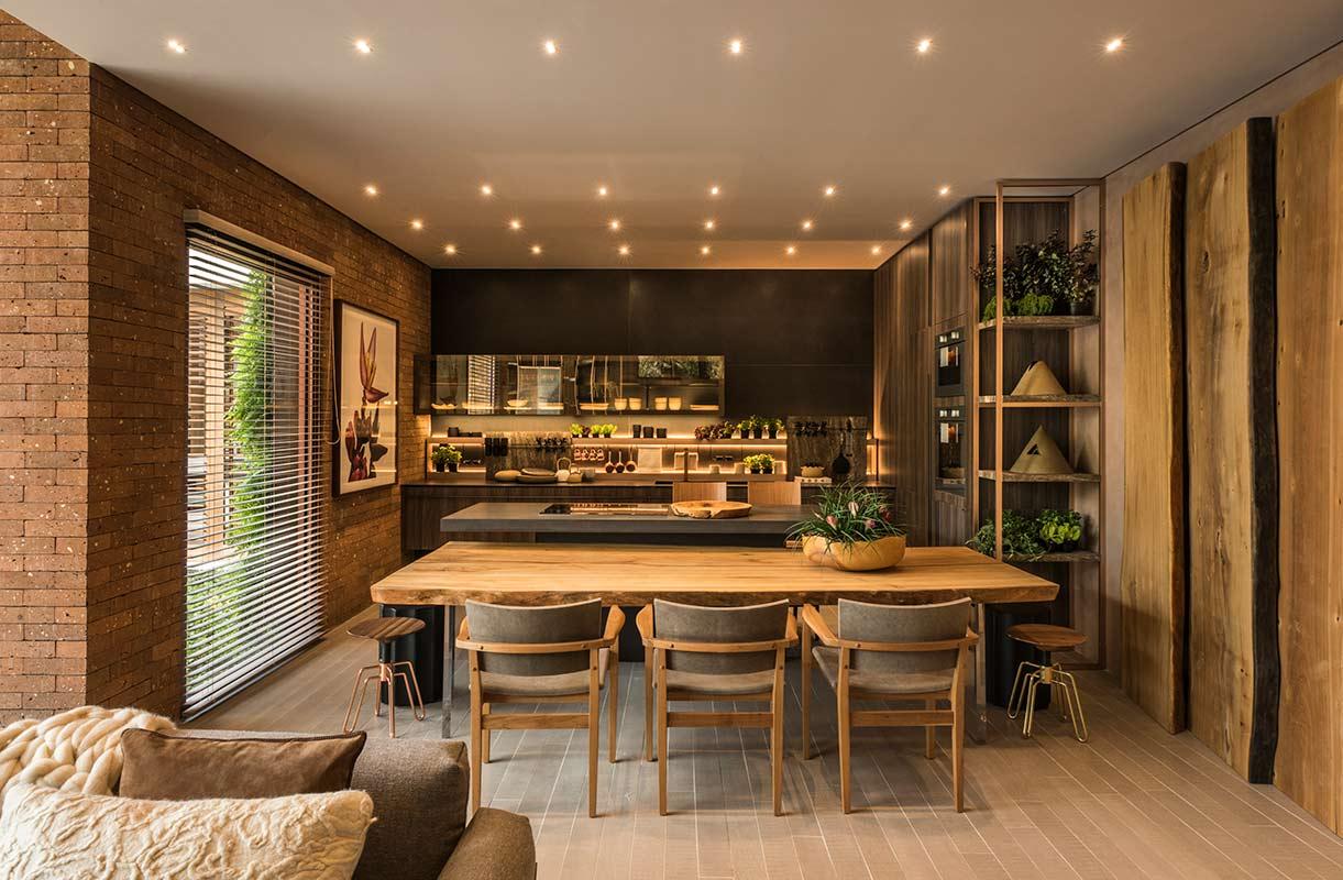Cozinha gourmet planejada com estilo rústico