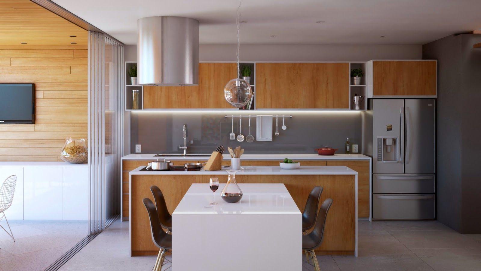 Cozinha gourmet com branco e madeira