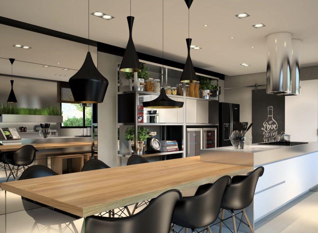 Cozinha gourmet com ambiente moderno e cores neutras
