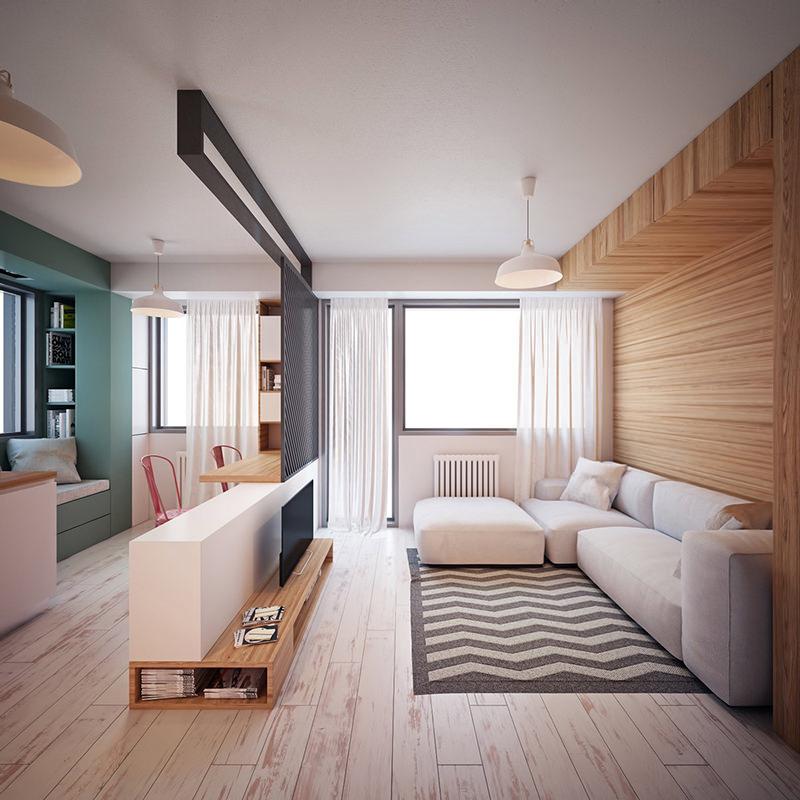 Sala de TV moderna pequena: a divisória vazada foi a solução perfeita para integrar os ambientes com funções distintas.