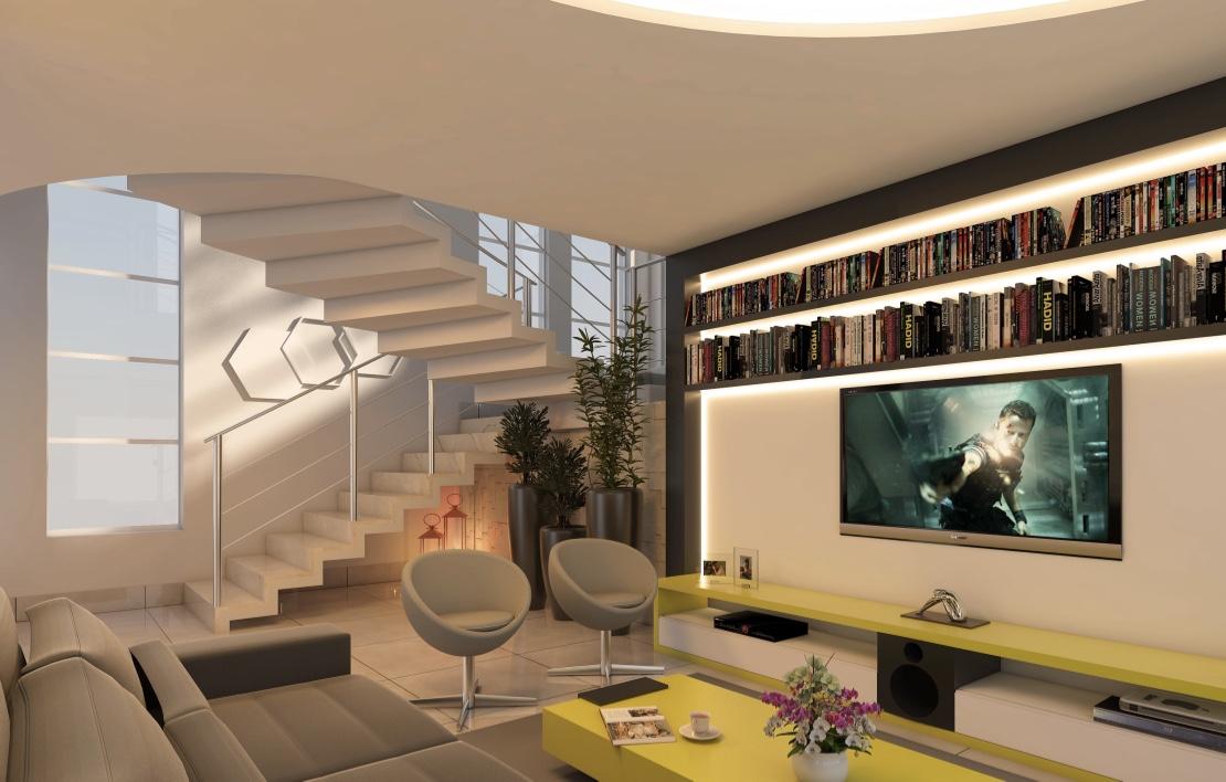 Sala de TV moderna com móveis coloridos.