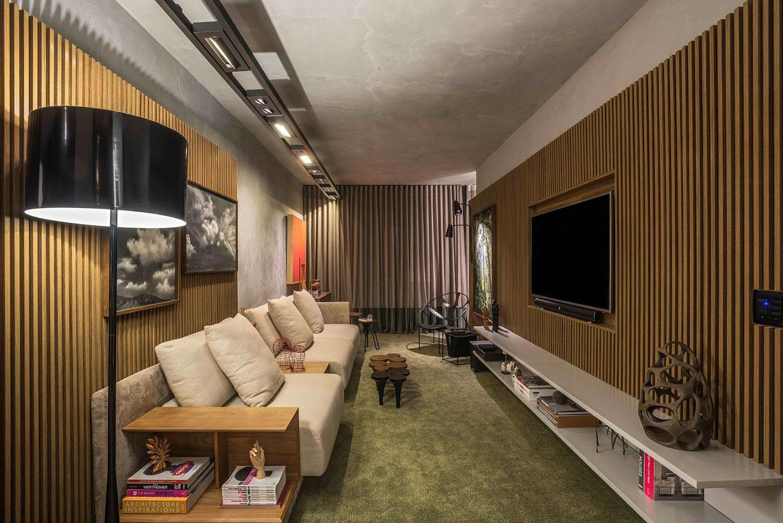 Sala de tv moderna 60 modelos projetos e fotos para decorar for Sofa para sala de tv