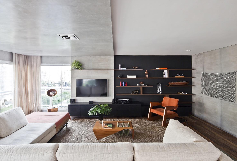Sala De Tv Moderna 60 Modelos Projetos E Fotos Para Decorar -> Sala De Tv Tamanho