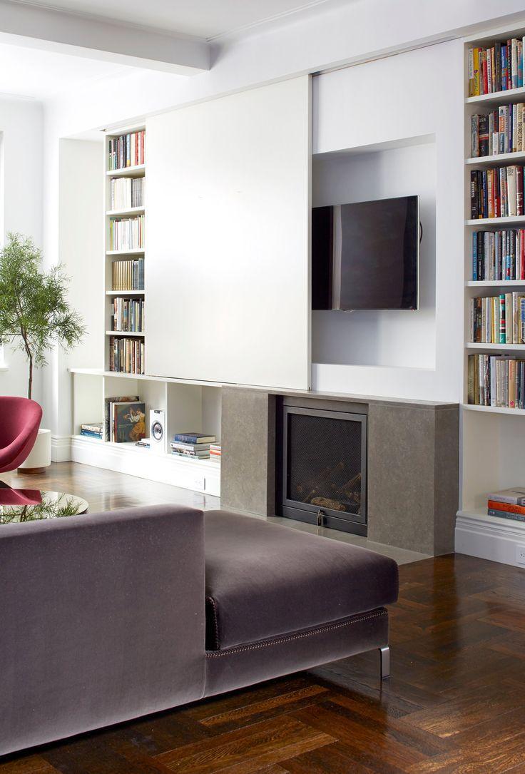 Sala De Tv Moderna 60 Modelos Projetos E Fotos Para Decorar -> Sala De Tv E Biblioteca