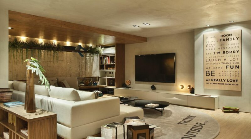 Sala de TV moderna: 60 modelos, projetos e fotos