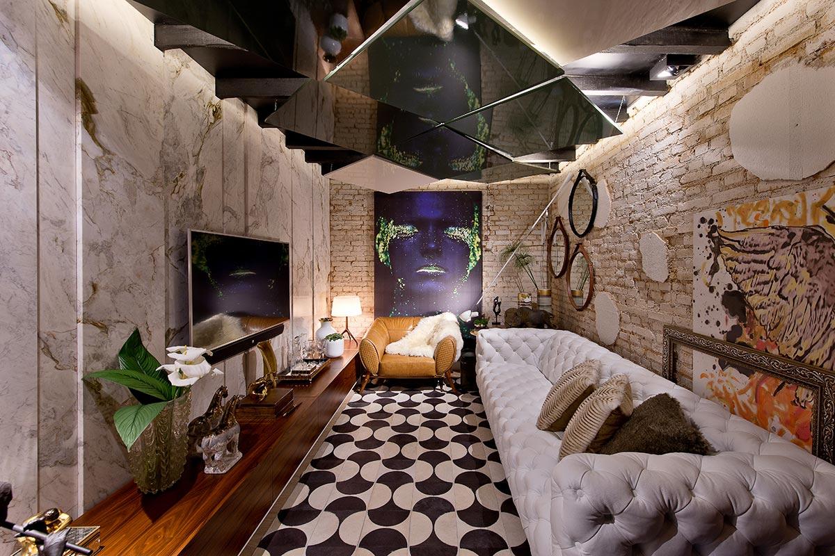 Sala de TV moderna com uma decoração lúdica: o ambiente demonstra personalidade!