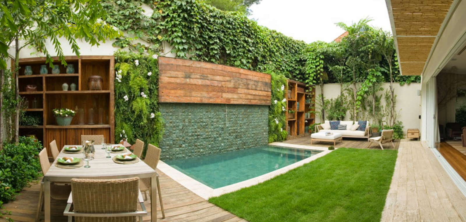 Rea de lazer pequena 60 projetos modelos e fotos Fotos de patios de casas pequenas