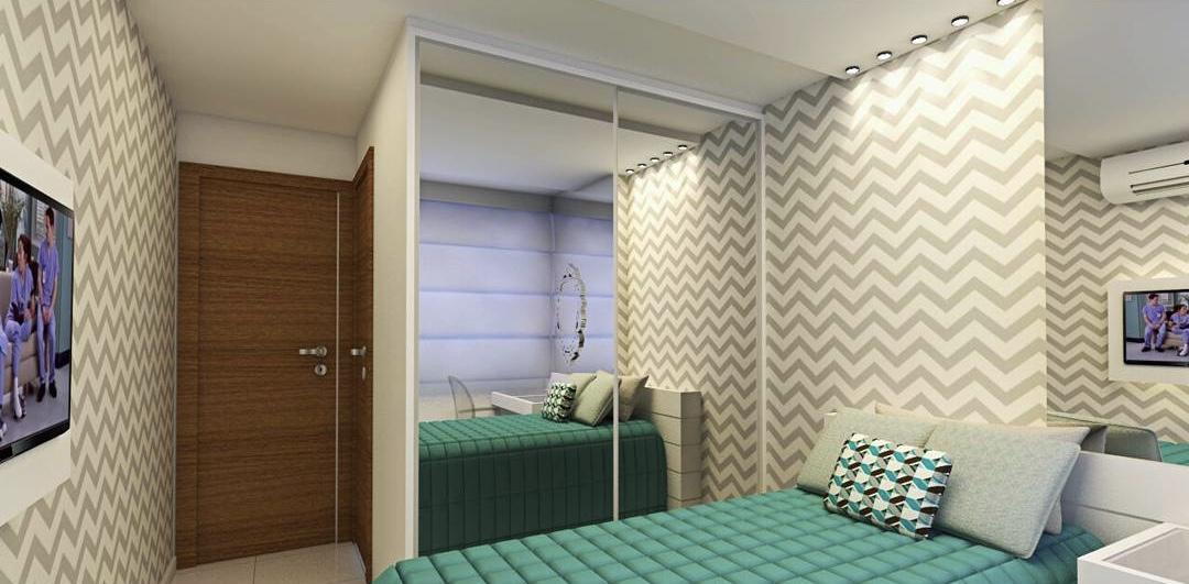 Para um quarto de solteiro feminino, você pode substituir a escrivaninha por uma penteadeira