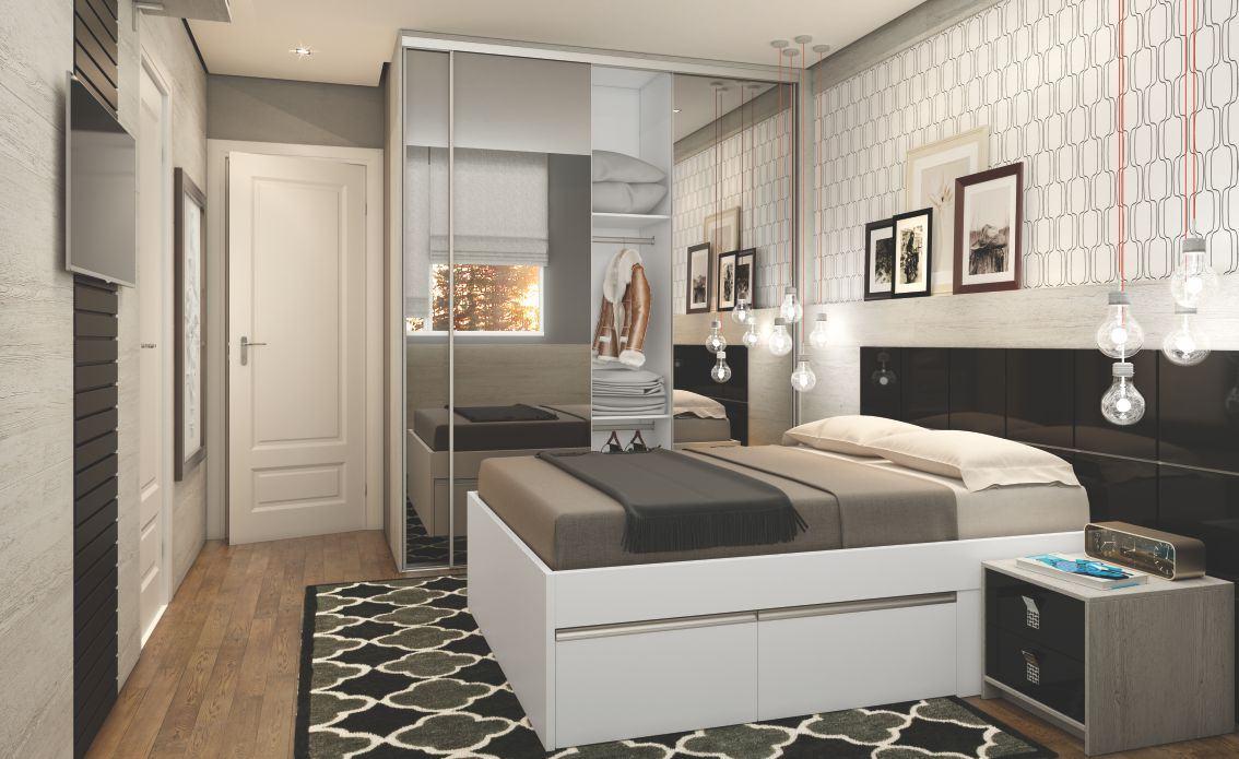 Seguindo o layout clássico, esse quarto de solteiro prioriza o estilo clean