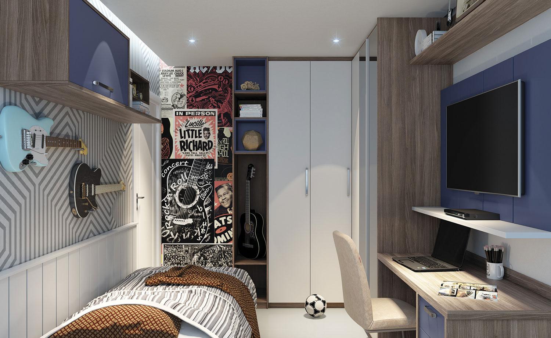 Quarto de solteiro planejado para jovens: o armário em L é uma ótima opção para otimizar o espaço.