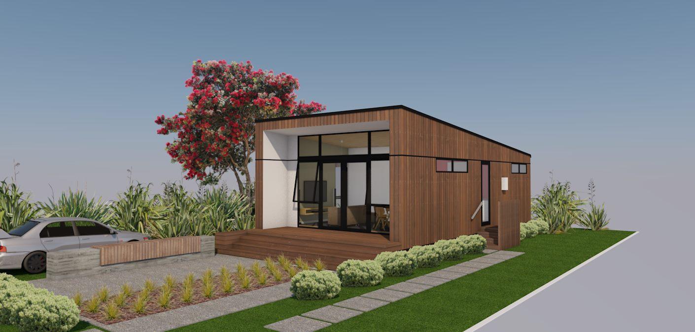 A casa térrea ganha uma volumetria diferente e moderna.