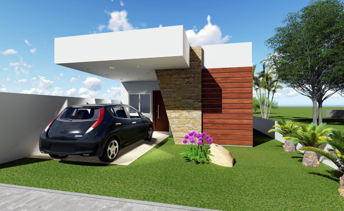 Esse modelo de casa pequena é para aqueles que não abrem mão da vaga de garagem.