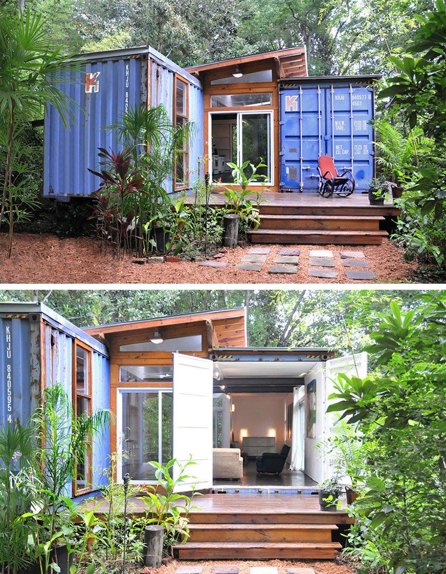 Casa container com formato em L.