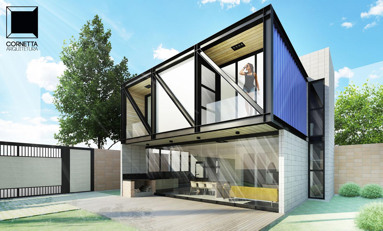 Para dar o ar arrojado misture estrutra metálica e concreto em sua casa container.