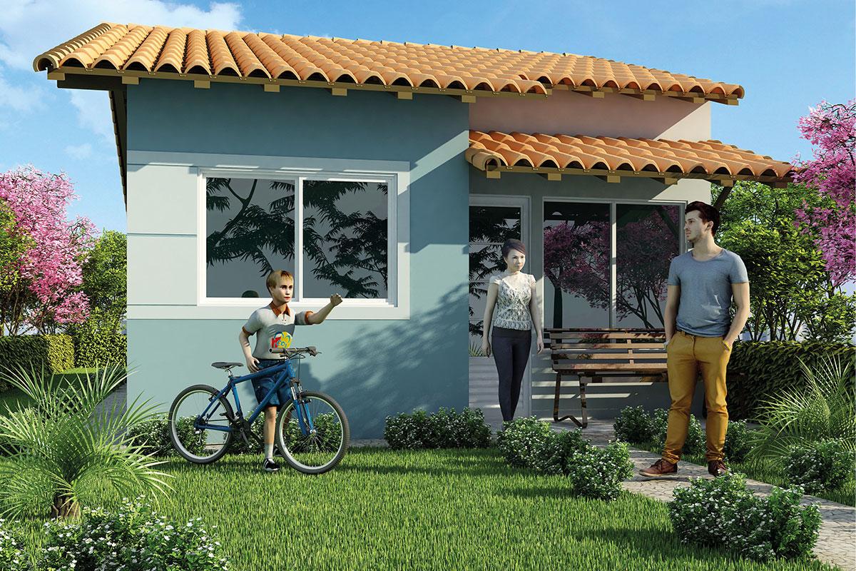 Casa com fachada azul bebê