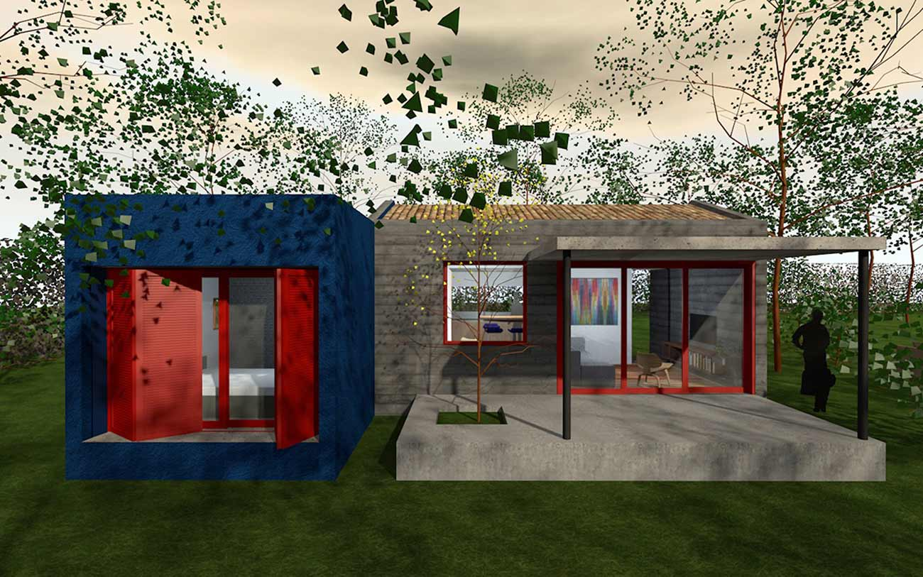 Pinte as janelas da fachada com uma outra cor