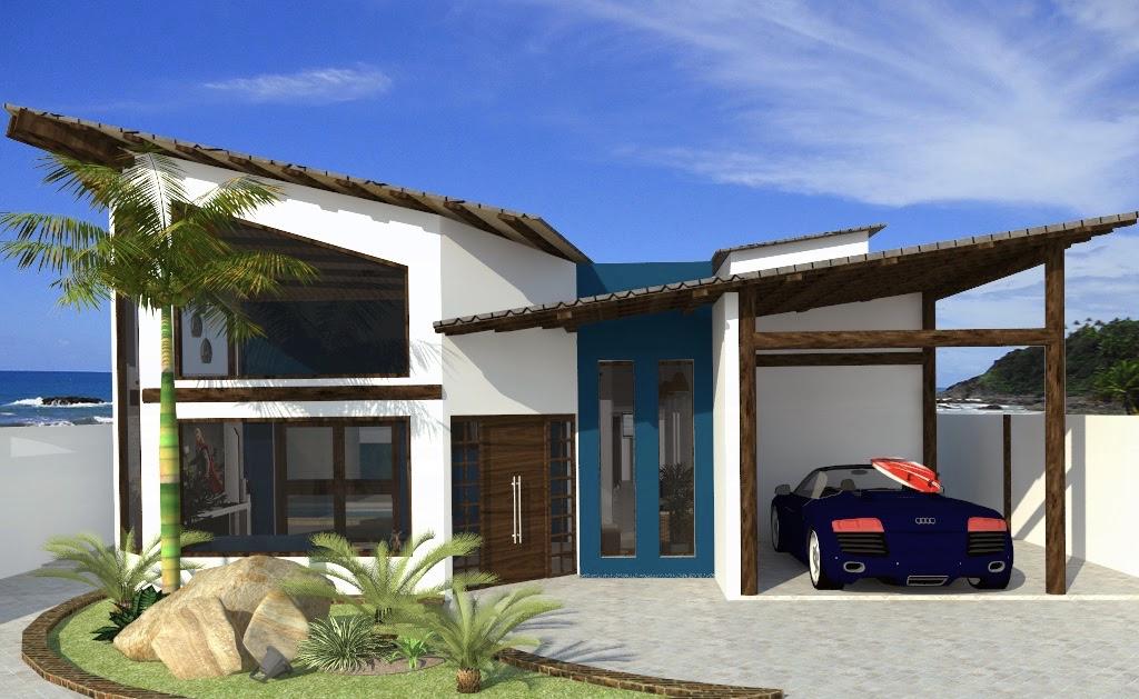 Para tirar a monotonia da casa, foi aplicado uma pintura azul em uma parte da fachada