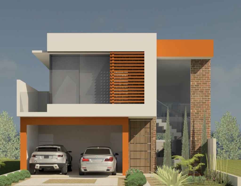 Os detalhes alaranjados conseguem destacar a arquitetura da casa