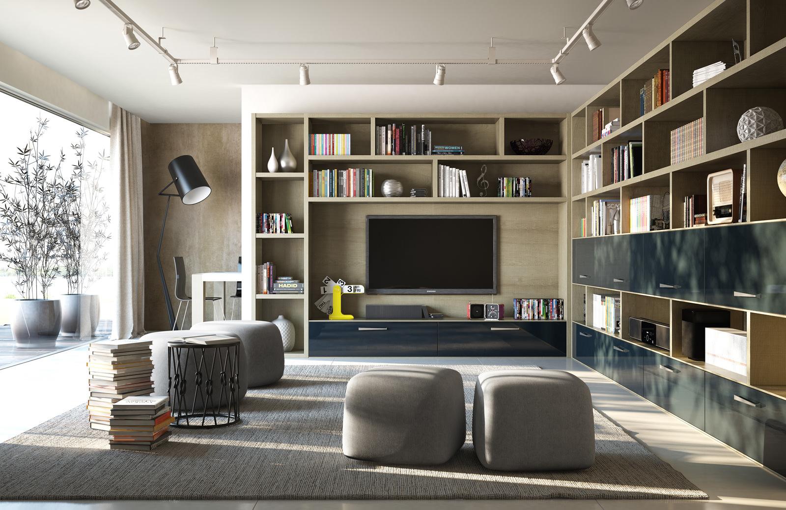 Para quem deseja misturar uma sala de TV com leitura, pode abusar de estantes e prateleiras