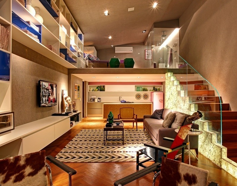 Para apartamentos estilo loft, o uso do espaço vertical é indispensável!