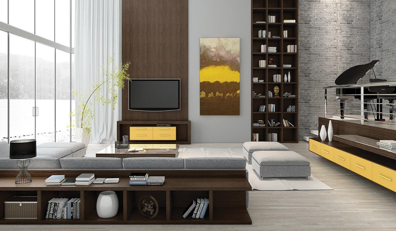 Reforçar o pé-direito com móveis planejados agrega no visual da sala