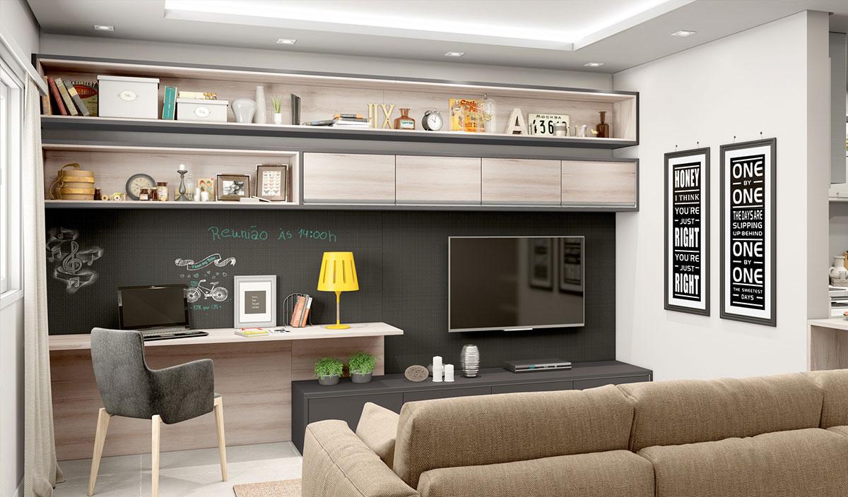 A mistura de gesso com móveis planejados pode ser perfeita para a sua sala