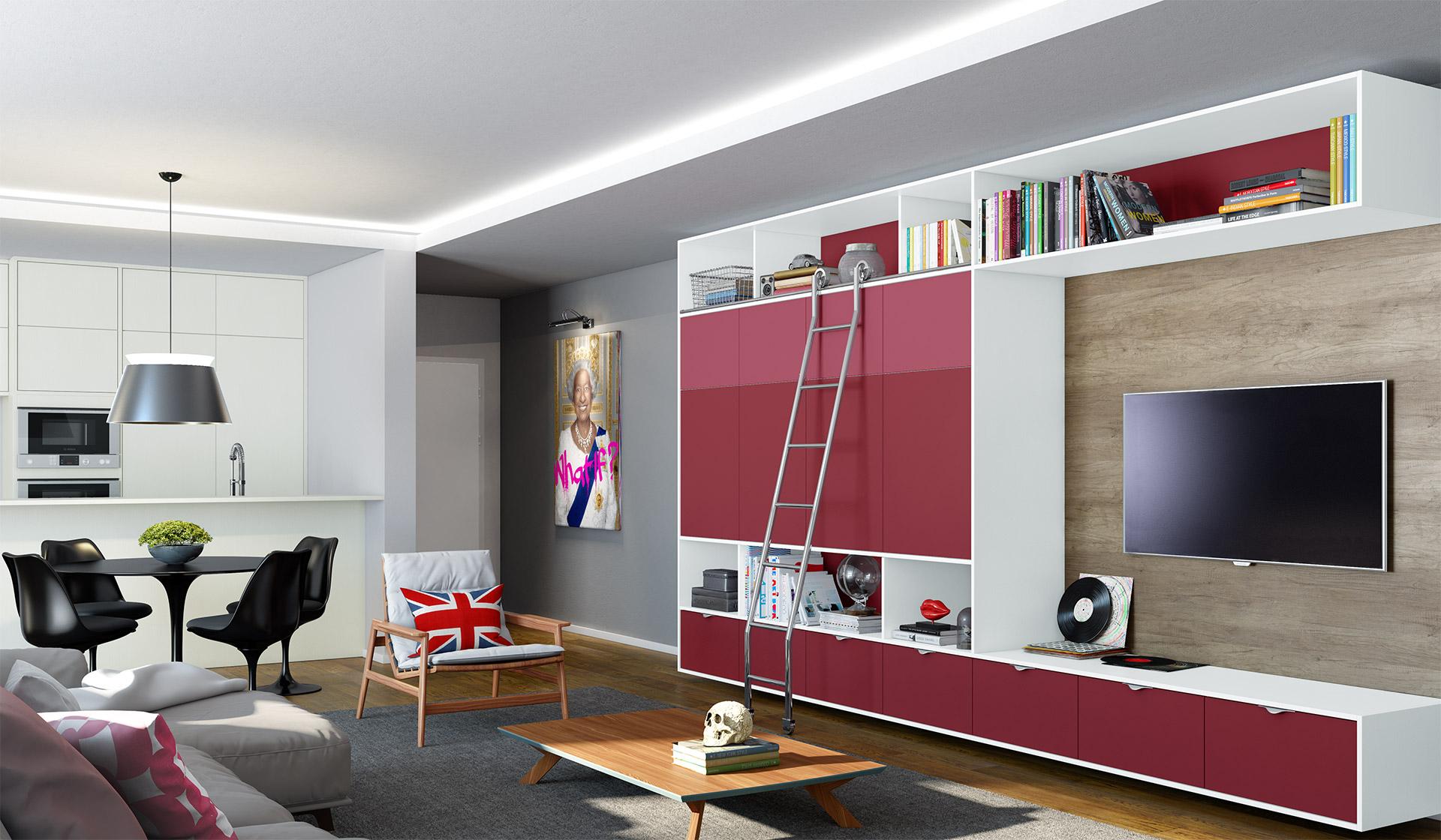 A escada facilita o acesso na parte superior do móvel e ainda decora a estante